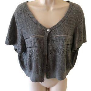 Torrid gray button up crop sweater, size 1